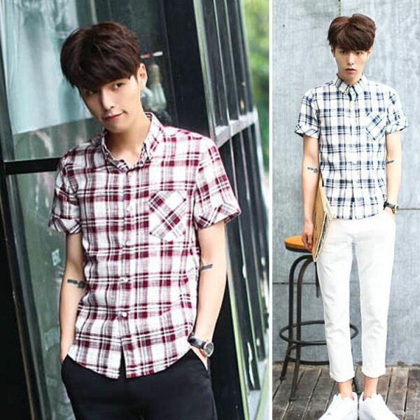 Mao最新款日韓新品經典格紋薄款百搭休閒短袖襯衫