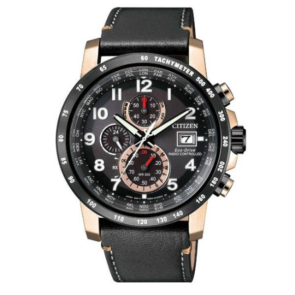 CITIZEN星辰錶AT8126-02E高科技品味電波光動能腕錶黑玫43mm