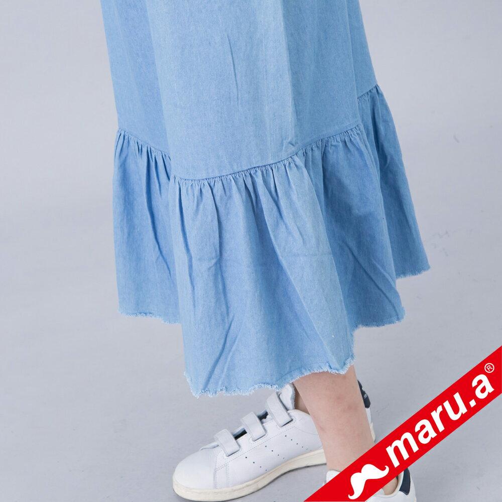 【618購物節】【maru.a】綁帶裝飾魚尾裙襬長洋裝(淺藍) 4