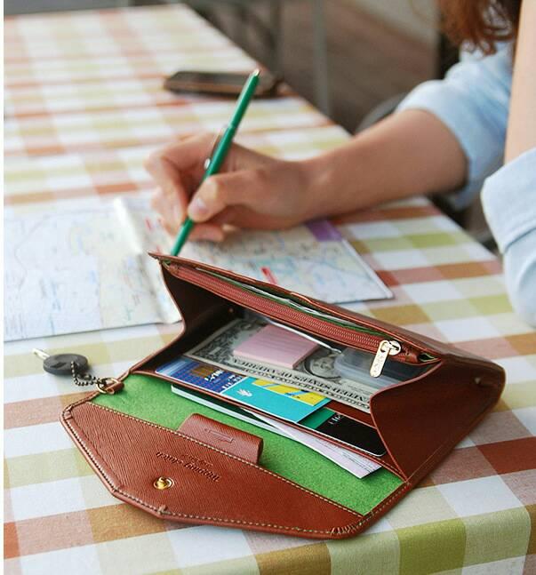 皮夾 韓版大容量手機包 旅行錢包 護照夾 手拿包【包包阿者西】