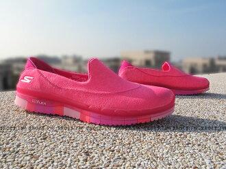 《5折出清》Shoestw【14010HPK】SKECHERS 健走鞋 GO FLEX 全新凹折底 桃紅 編織 瑜珈鞋墊