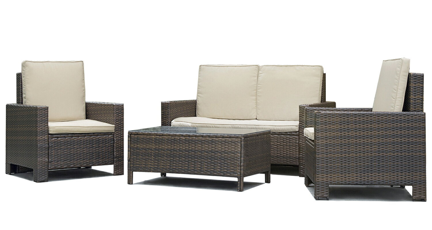 Factory Direct 4pc Pe Rattan Wicker Sofa Set Cushion Outdoor Patio