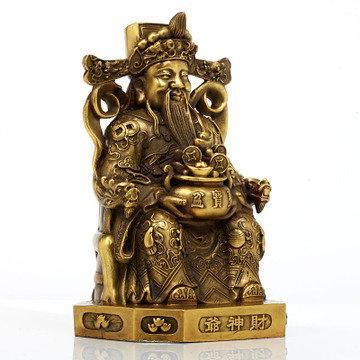 吉善緣 純銅財神爺擺件 文財神招財進寶家居工藝擺設2245