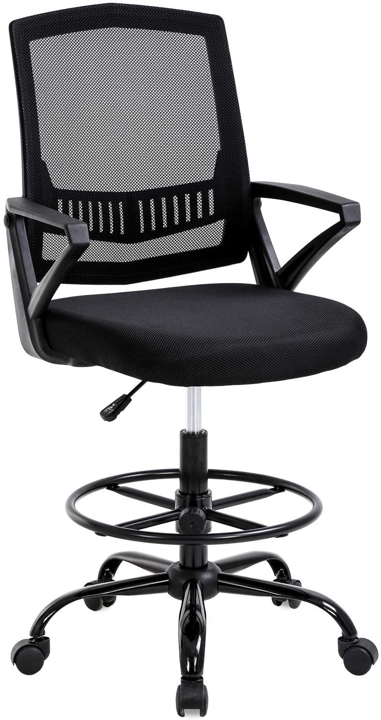 Outstanding Mid Back Mesh Drafting Chair Office Chair Desk Chair Adjustable Height With Lumbar Support Flip Up Arms Rolling Swivel Computer Chair For Women Men Creativecarmelina Interior Chair Design Creativecarmelinacom