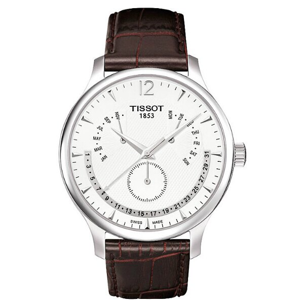 TISSOT天梭T0636371603700 TRADITION逆跳萬年曆石英腕錶/白面42mm