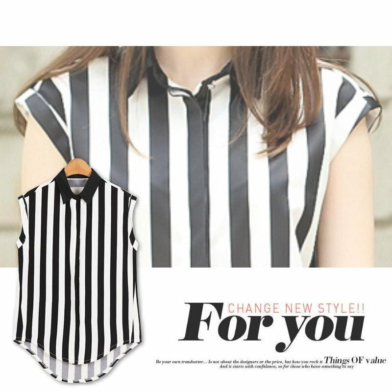【紐約七號】A1-188 歐美大尺碼 時尚黑白條紋翻領無袖上衣 XL~5XL