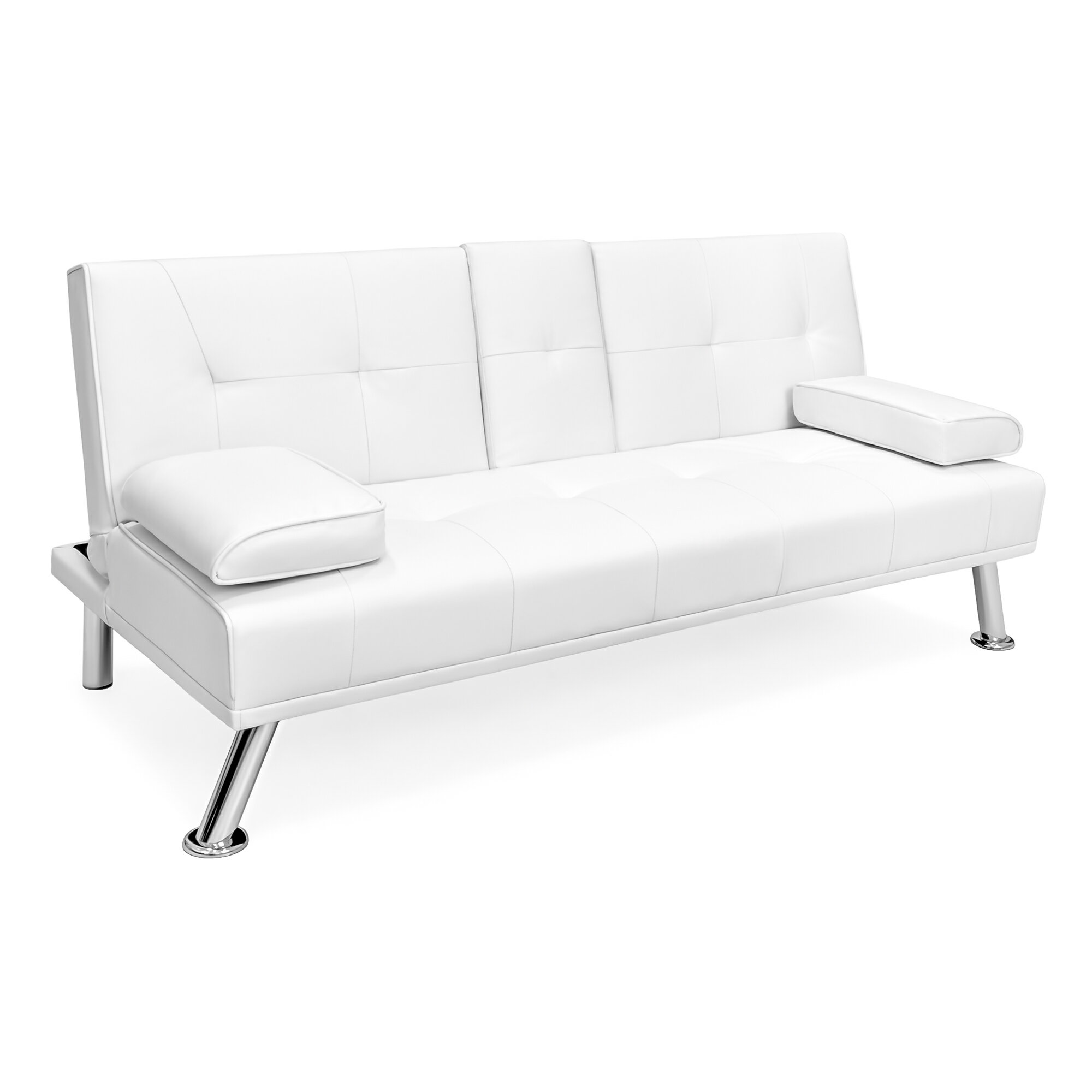 Best Choice Products Modern Faux Leather Convertible Futon Sofa Bed Recliner Couch W Metal Legs
