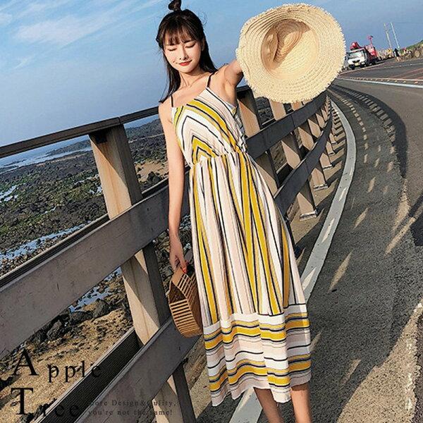 AT日韓-韓國,彩色條紋吊帶洋裝3色【806008】