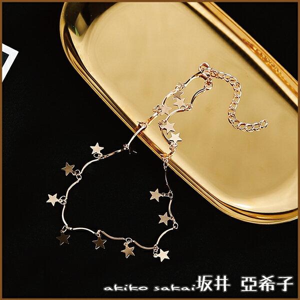 『坂井.亞希子』時尚百搭光面五角星造型垂墜頸鍊 1