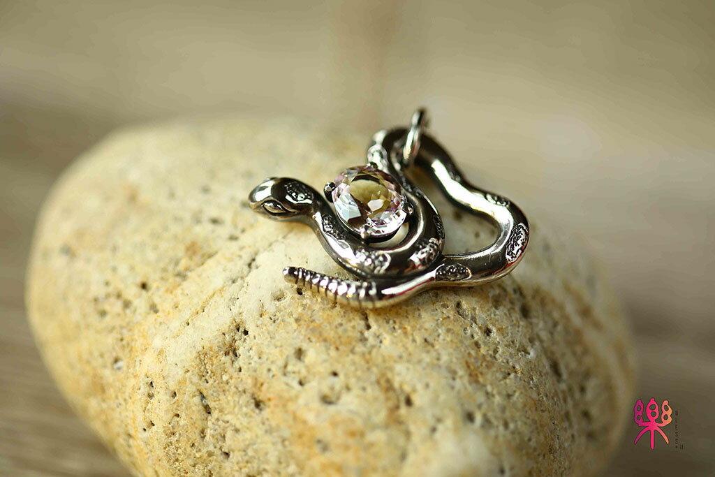 ~樂采珠寶~925純銀 蛇抱蛋-摩根石珠寶項鍊.