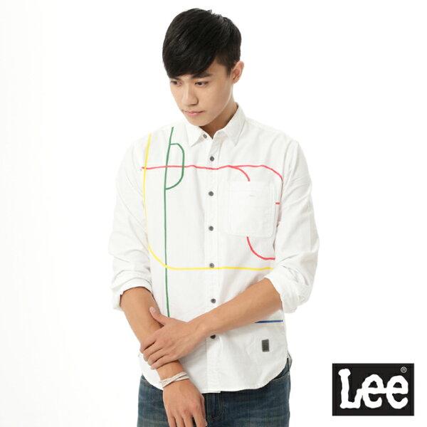 Lee Jeans tw:【精選上衣3.5折】Lee長袖白底彩色線條襯衫UR-男款【單筆消費滿1000元全會員結帳輸入序號『CNY100』↘折100