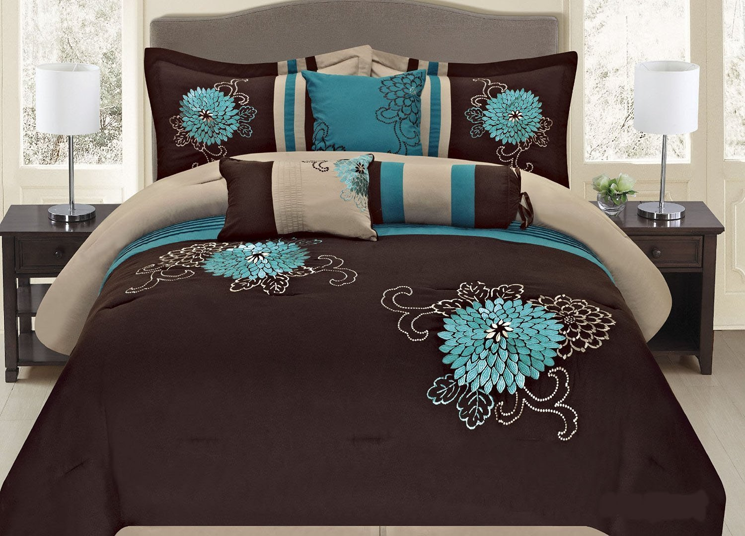 7 Pc Brown Teal And Taupe Fl Striped Design Full Size Comforter Set By