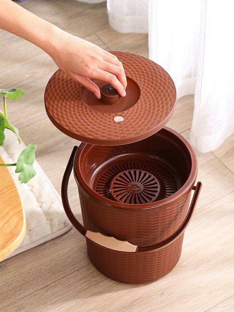 茶渣桶 茶桶茶渣桶功夫茶具配件小號茶水桶家用塑料茶葉垃圾桶廢水桶帶蓋 【CM1592】