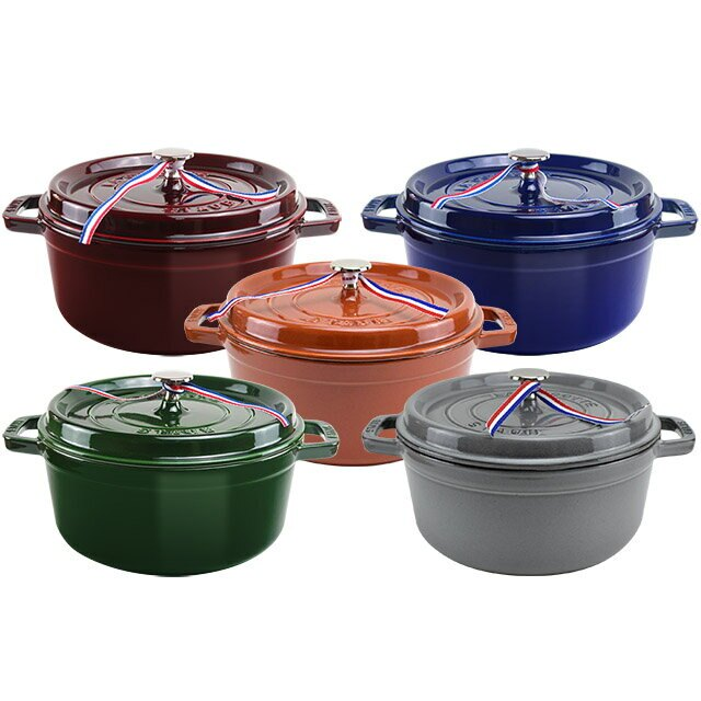 5色可選【Staub】24cm鑄鐵 圓形鑄鐵鍋4QT / 3.8L【比漾廣場】 0
