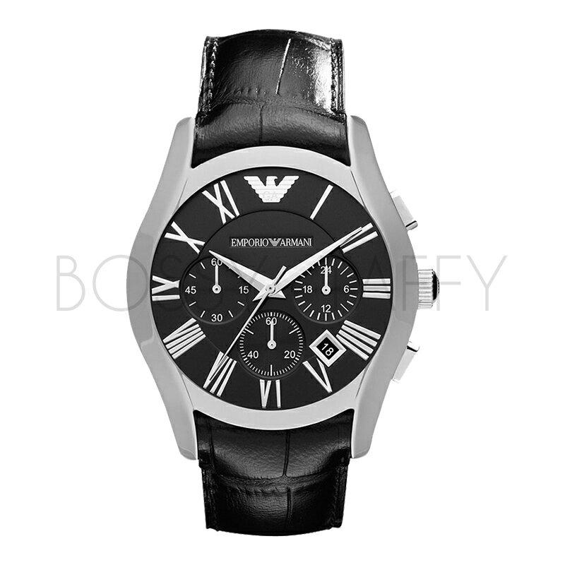 AR1633 ARMANI 亞曼尼 羅馬時標經典黑面計時手錶