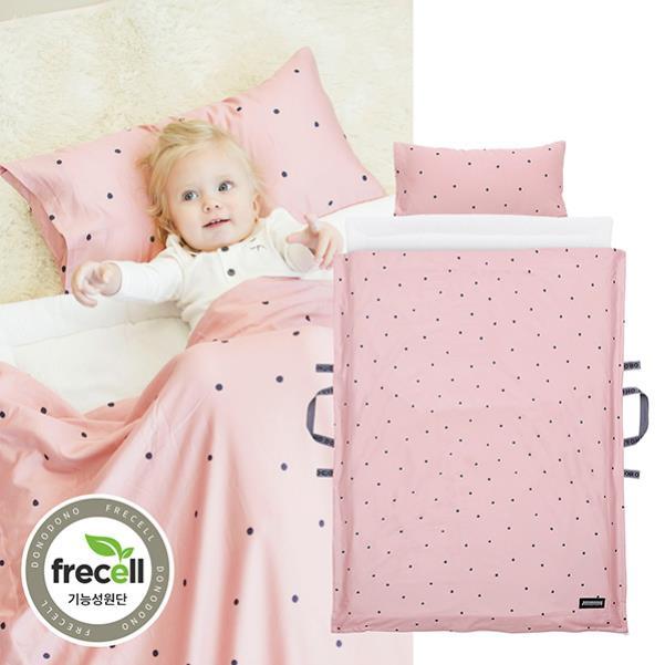 升級款 韓國 頂級天絲雙面睡袋 兩面睡墊不同功能 兒童睡袋 幼兒園午睡墊 嬰兒睡墊 防螨抗菌枕芯【粉紅小泡泡】