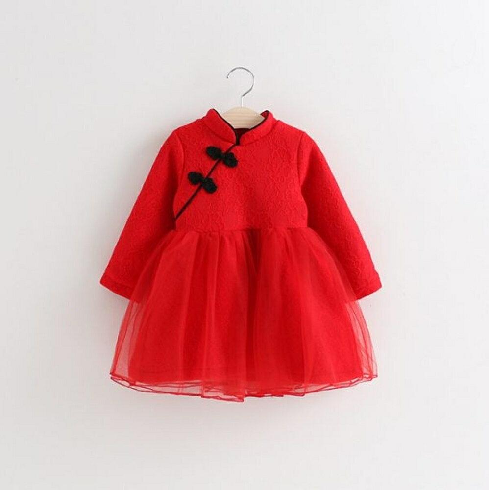 ✤宜家✤可愛時尚寶寶旗袍連衣裙1 加絨公主網紗裙 兒童過年服裝