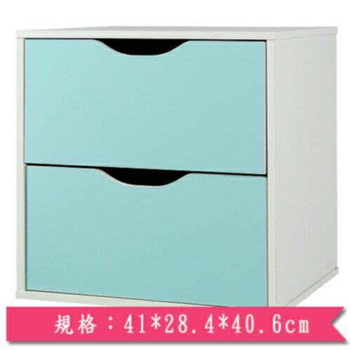 魔術方塊雙層抽屜收納櫃-藍【愛買】