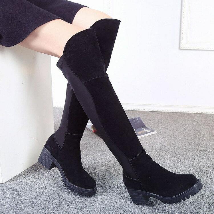 歐洲顯瘦美腿歐美膝上靴高筒靴過膝靴長靴秋冬低跟套筒好穿脫及膝靴彈力粗跟