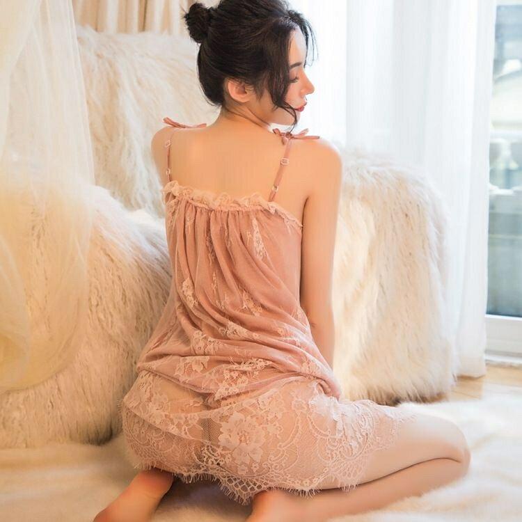 睡衣 夏季性感睡衣女蕾絲誘惑激情火辣大碼胖mm冰絲長款吊帶睡裙可外穿  潮流居家 雙11