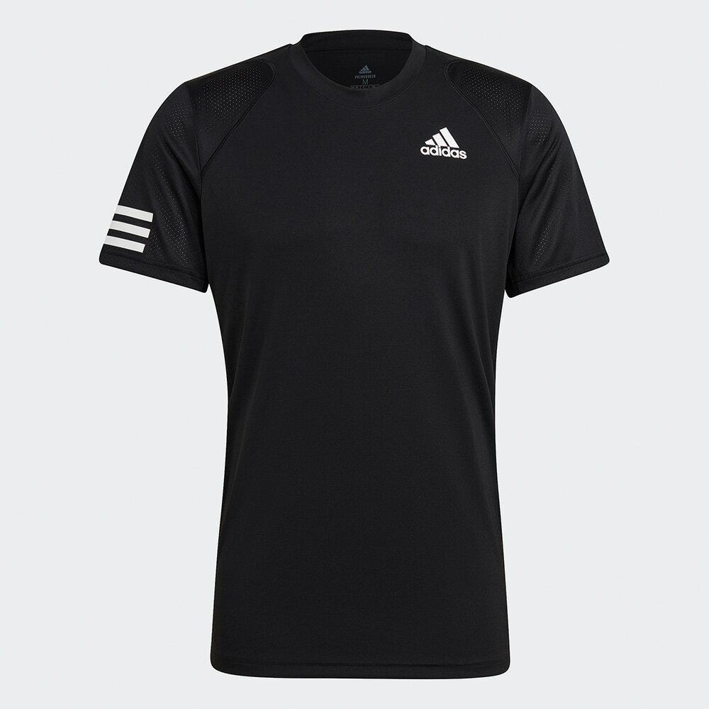 【滿額最高折318】【現貨】Adidas CLUB TENNIS 男裝 短袖 T恤 慢跑 訓練 透氣孔洞 吸濕排汗 黑【運動世界】GL5403