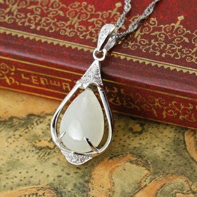 925純銀項鍊 和闐玉吊墜~復古 唯美氣質生日情人節 女飾品2色73de34~ ~~米蘭
