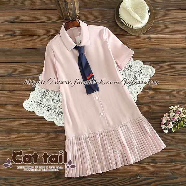 《貓尾巴》TS-0674日系學院風可愛領帶短袖連身裙(森林系日系棉麻文青清新)
