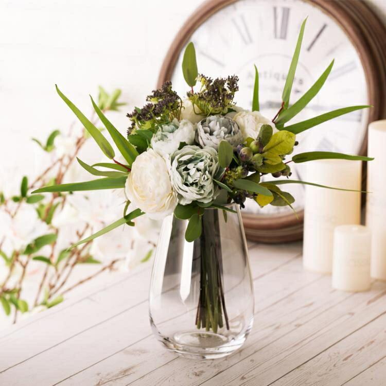 花瓶 恐龍蛋玻璃花瓶 珠光貝母色花瓶擺件裝飾客廳插花創意花器