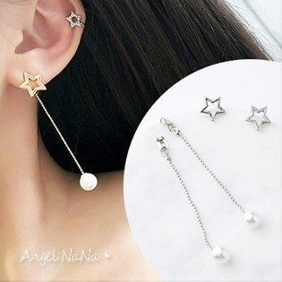 AngelNaNa:耳環《可改夾式》閃耀星星後掛式珍珠耳墬耳釘【RA0053】