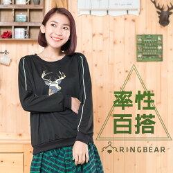 長袖上衣--簡約率性幾何鹿印圖羅紋圓領顯瘦袖線縮口下襬上衣(黑L-3L)-F124眼圈熊中大尺碼