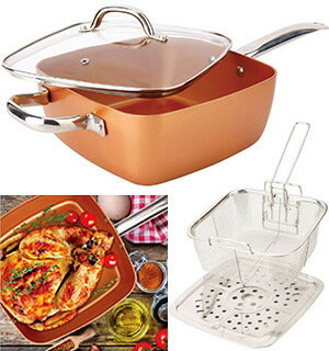 4-pc Square Copper Cookware Pan Set 0