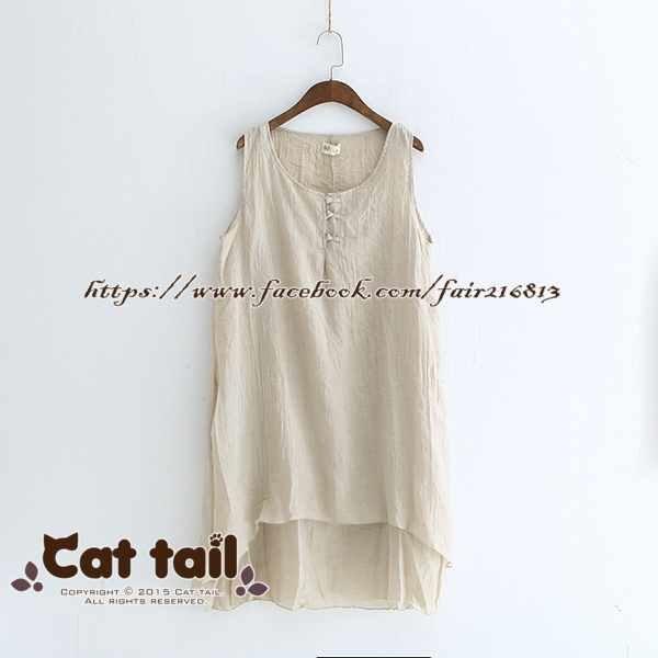 《貓尾巴》LZ-03192文藝復古盤扣造型無袖連身裙(森林系日系棉麻文青清新)