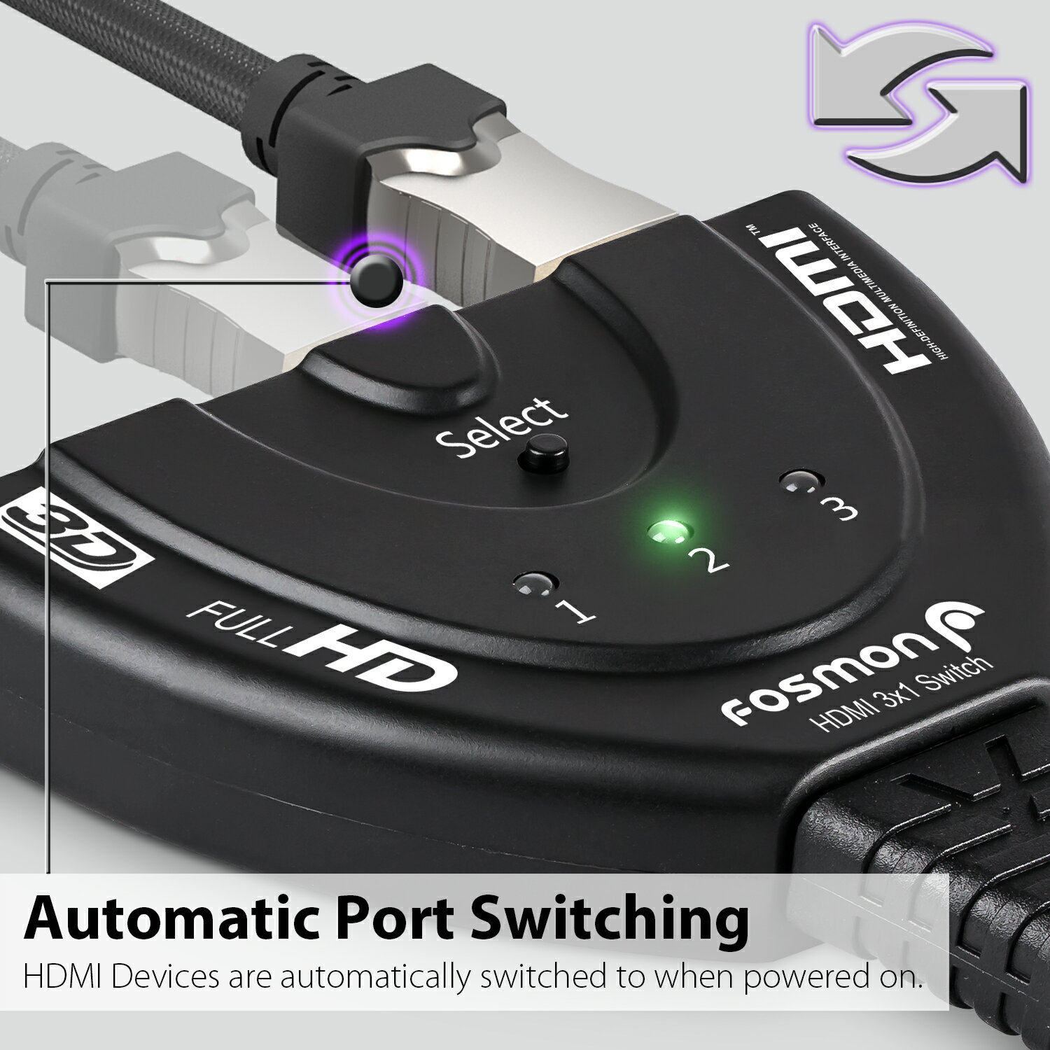 Fosmon 3 Port HDMI Switch/Switcher 3-In 1-Out with Pigtail Cable for  Blue-Ray, Cable Box, PS3/PS4, Xbox360, Wii, HDMI/HDMI Compatible Device or