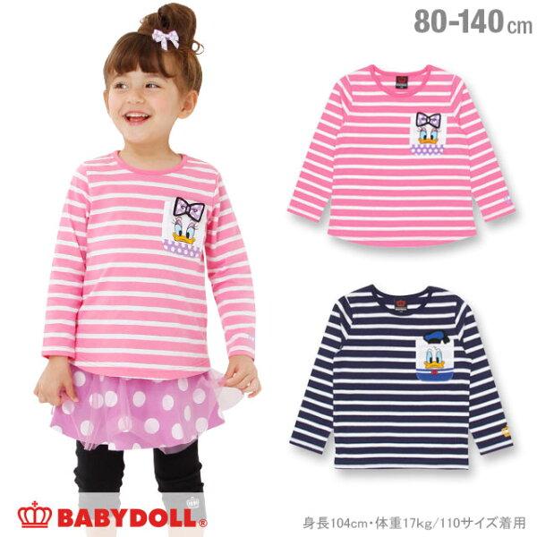 日本BABYDOLL童裝唐老鴨條紋長袖上衣CBT-25310522。2色(1180)-日本必買免運代購