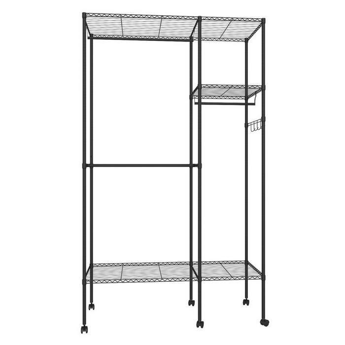 Wire Shelving Garment Rack Closet Hanger Organizer with Wheels 2