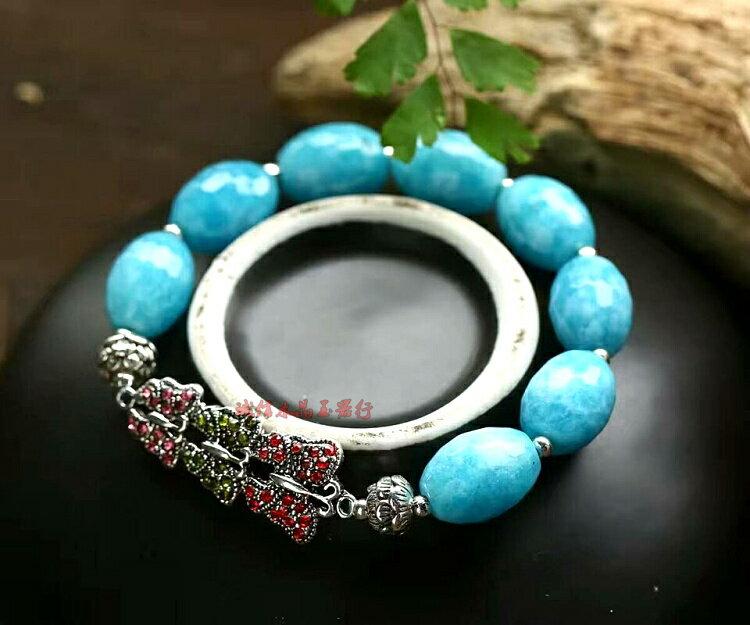 純天然海藍寶玉髓橄欖珠10*12毫米搭配烤藍配件水晶手鏈1入