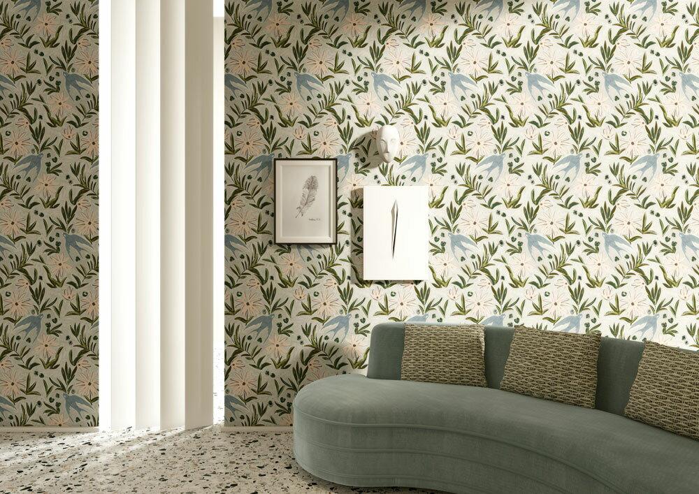 法國壁紙 燕子圖案  2色可選  Season Paper 壁紙 6