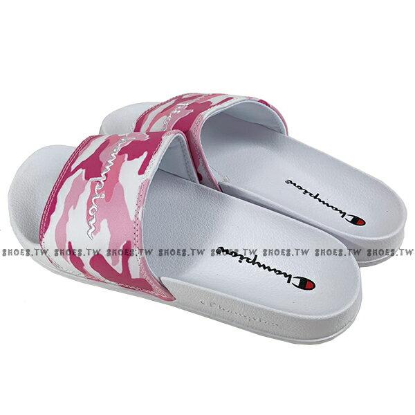 Shoestw【913250260】CHAMPION 拖鞋 運動拖鞋 粉白迷彩 女生尺寸 2