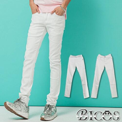 彈性牛仔褲【P1599】OBI YUAN 韓版專櫃厚磅材質簡約純白素面彈力休閒褲
