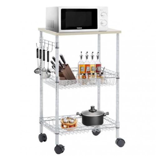 Factory Direct Utility Cart Wire 3 Tier Rolling Cart Organizer Nsf