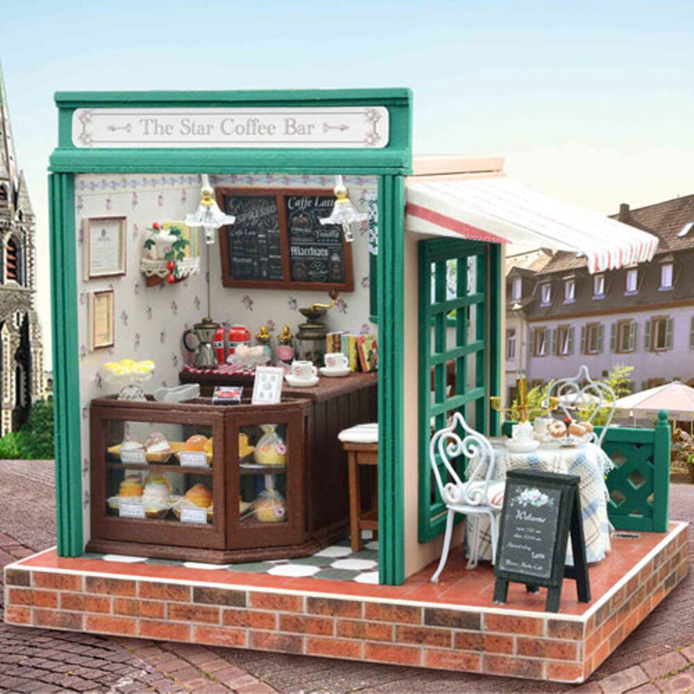 【WT16122304】 手製DIY小屋 手工拼裝房屋模型建築 含展示盒-星星咖啡吧