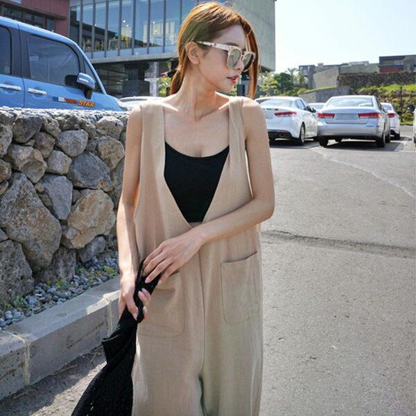 PS Mall 寬鬆無袖連身長褲 短版無袖內搭背心 兩件組【T758】 - 限時優惠好康折扣