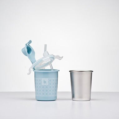 美國【Kangovou】 小袋鼠不鏽鋼安全兒童餐具簡配組(野莓藍) 2