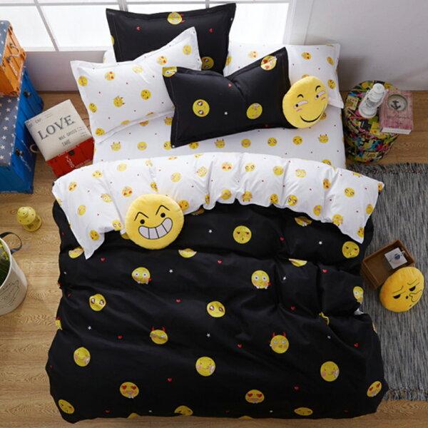 哇哇購:哇哇購個性印花三件式被套床包組單人表情秀