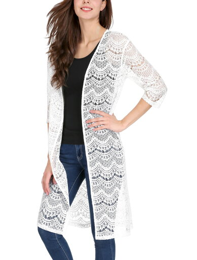 Women 3/4 Sleeves See Through Open Front Lace Cardigan White/XS (US 2) d68d90464aa84e219dd286dcd238069b