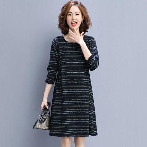 條紋寬鬆大碼棉麻連身裙(4色M~3XL)【OREAD】 3