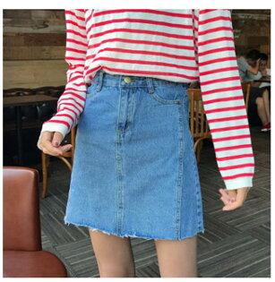 50%OFF SHOP韓版新款純色須邊牛仔短裙高腰顯腿長半身裙(2色)【G029175S】