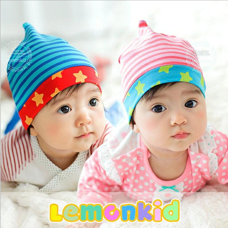 Lemonkid◆時尚小星星條紋舒適彈性可愛尖角造型兒童套頭帽