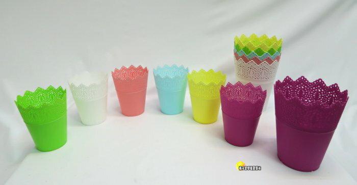 [橘子空間裝置藝術] 塑膠製 彩色蕾絲邊小花盆.花器..擺飾☆人造花.插花用品,飾品.花束.花器.園藝資材.花盆.花瓶☆