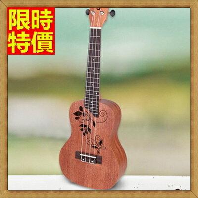 ★烏克麗麗ukulele-蝴蝶印花23吋桃花心木合板夏威夷吉他四弦琴弦樂器69x14【獨家進口】【米蘭精品】